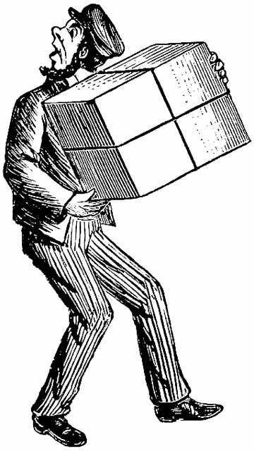 vintage illustration of a man carrying a box